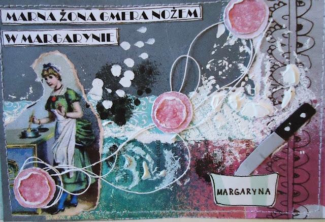 kartka z układanką literową hand made, marna żona i margaryna
