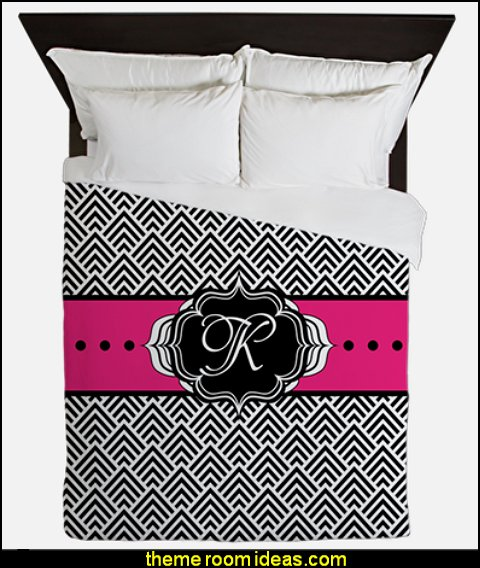 Hot Pink Black and White Chevron Monogram  duvet