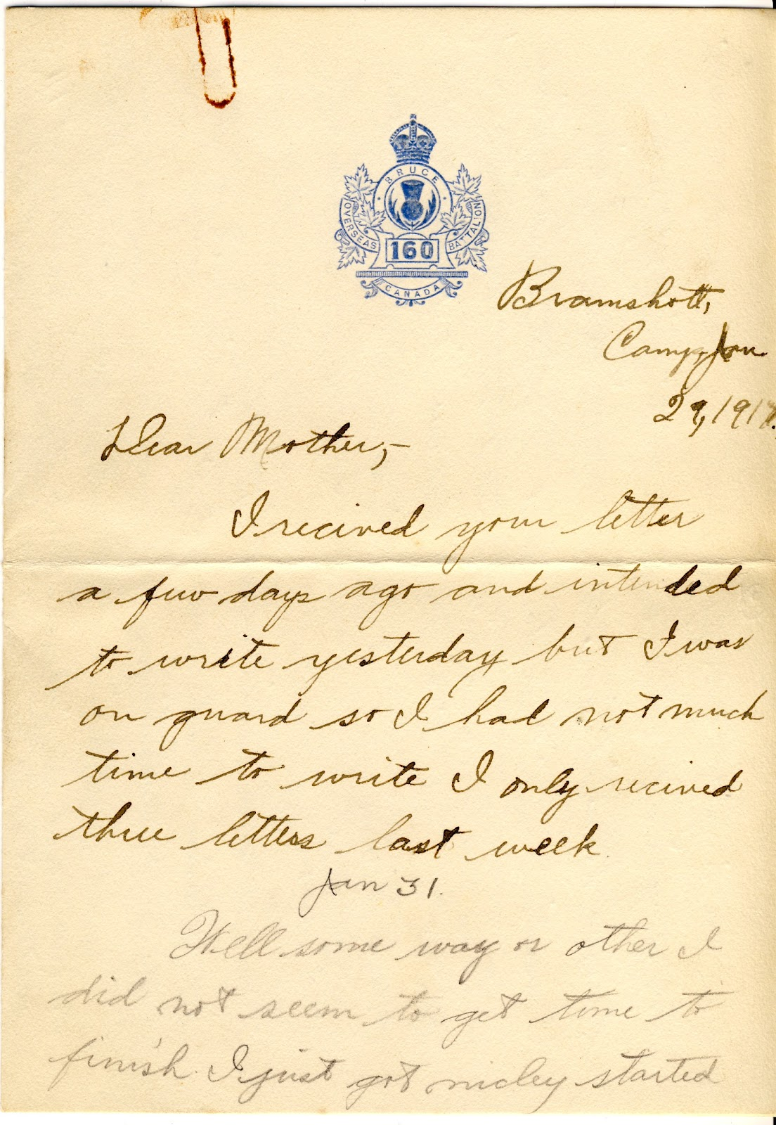 Letters From World War One Jan 29 Bramshott Camp