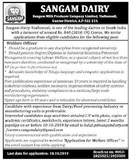 Sangam Dairy Welfare Officer Govt jobs 2019 Recruitment Apply Online