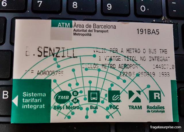 Bilhete unitário do metrô de Barcelona