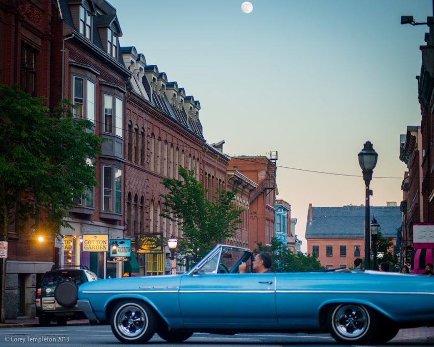 Portland, Maine USA June 2013 photo by Corey Templeton. A Thursday Throwback to June 2013 and a classic car cruising past Exchange Street on a warm evening.