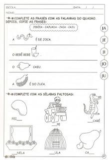 Atividade alfabetização letra J