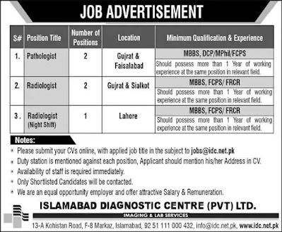 Islamabad Diagnostic Center Jobs 2021