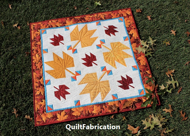 Fall Leaves wall hanging quilt by QuiltFabrication