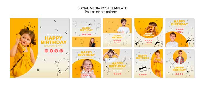 Social Media Post Template With Happy Birthday