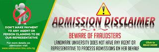 Landmark University Disclaimer 2020/2021: Beware of Fraudsters
