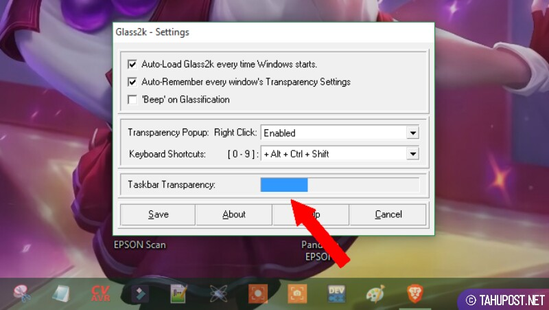 Mengatur Transparansi Taksbar - Cara Membuat Jendela Windows Jadi Transparan