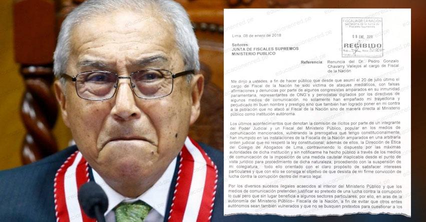 YA ES OFICIAL: Pedro Chávarry formalizó renuncia ante Junta de Fiscales Supremos