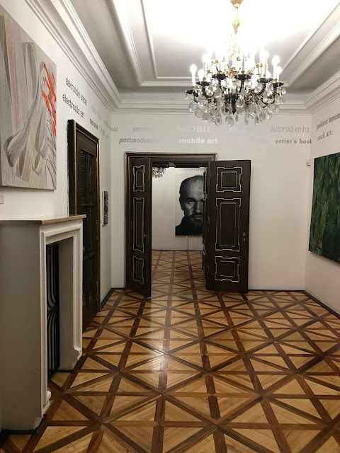 Art and parquet floor at the Pállfy Palace in Bratislava in Slovakia
