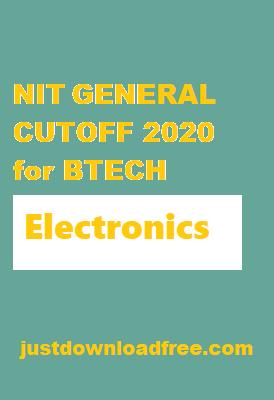 NITs ECE General CUTOFF 2020 for BTECH