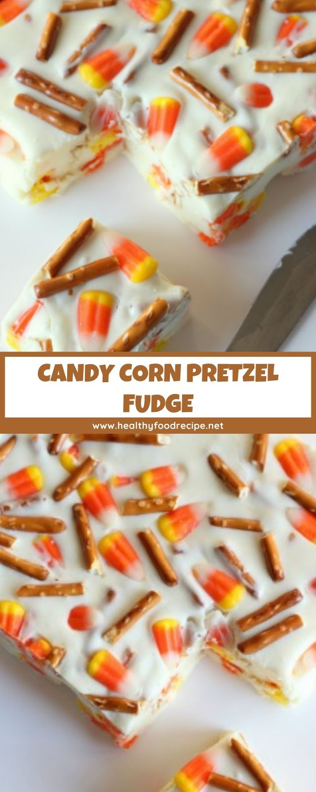 CANDY CORN PRETZEL FUDGE