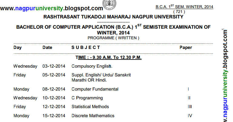 B c a 1st sem new time table winter 2014 rtmnu revised for Rtmnu time table 4th sem