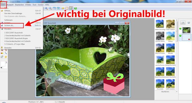 """Screenshot PhoXo mit Hiinweis auf """"Speichern als"""""""