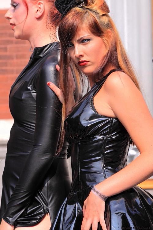 Street style: Black pvc dress