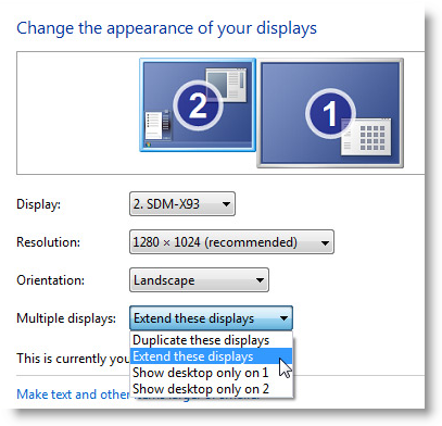 Display Settings untuk Windows 7