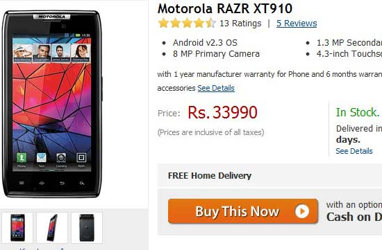 best sim free offer price for motorola razr