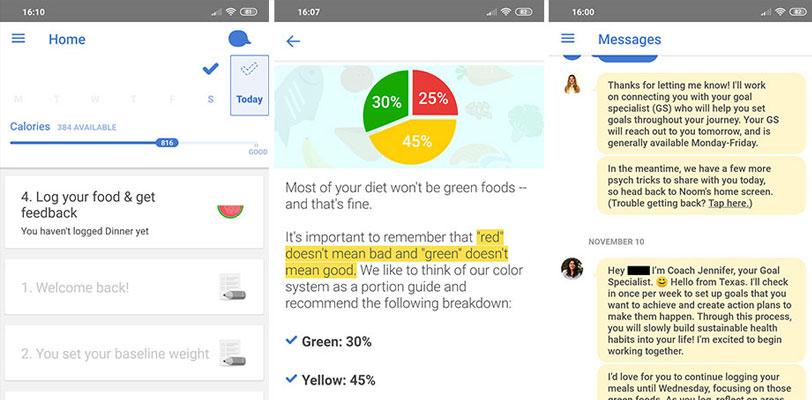 app de dieta noom screenshots - tropa do batom