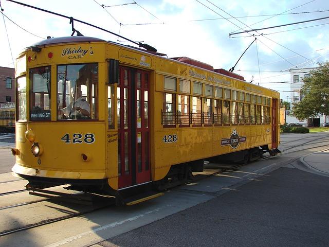 A yellow Tampa streetcar.