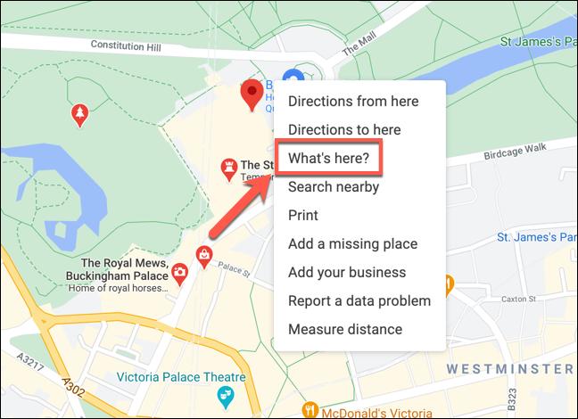 """انقر بزر الماوس الأيمن فوق موقع في خرائط Google ، ثم اضغط على """"ماذا هنا؟""""  لعرض الإحداثيات."""