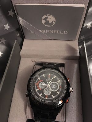 Globenfeld sports watch black and red in box