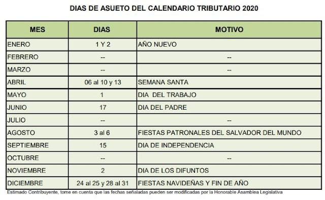 CALENDARIO TRIBUTARIO EL SALVADOR 2020, CUMPLIMIENTOS DICIEMBRE 2019, VENCIMIENTO OCTUBRE 2020