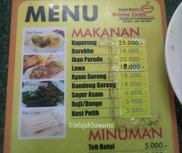 Menu makanan khas Luwu di RM Aroma Luwu Makassar || ©JelajahSuwanto
