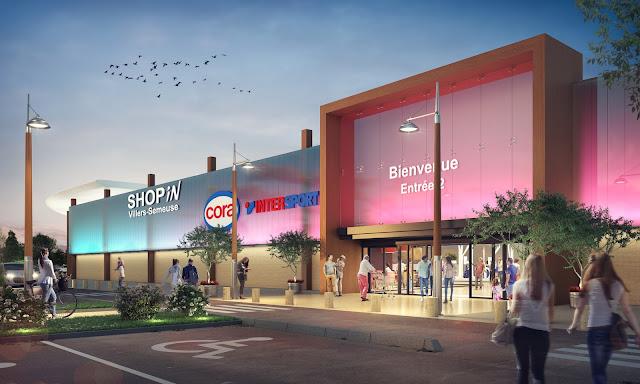 Perspective 3D d'ambiance du centre commercial