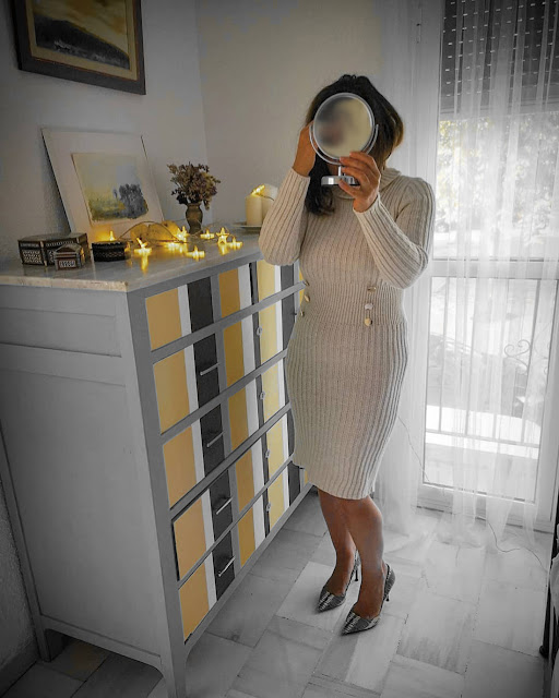 Knitted-Roll-Neck-Button-Midi-Dress