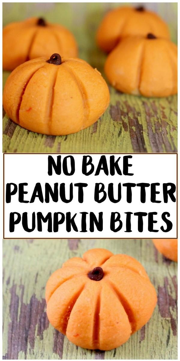 Easy Halloween Recipe: No Bake Peanut Butter Pumpkin Bites #halloweenrecipes