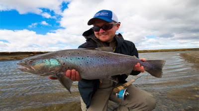 Fly fishing in Tierra del Fuego, Chile.