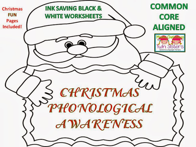 twin speech language literacy llc christmas phonological awareness b w worksheets free fun. Black Bedroom Furniture Sets. Home Design Ideas