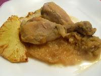 Receta de pollo con piña en salsa con Oporto.