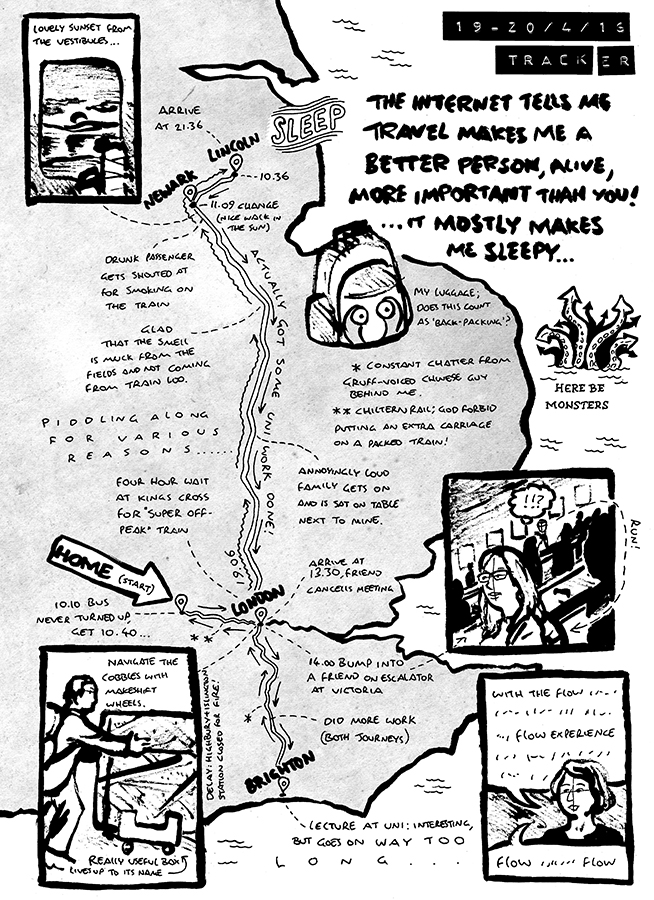 Comic: Map of Alex's impromptu trip to Lincoln to help a friend, then to Brighton for Uni and home, with several delays and encounters on the way.