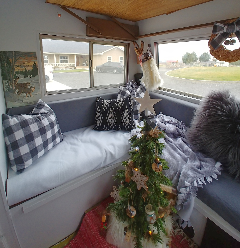 RV lounge area decorated for Christmas