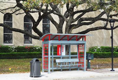 New Metro Bus stop shelter outside St. Anne's Church on Westheimer