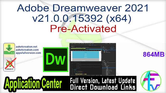 Adobe Dreamweaver 2021 v21.0.0.15392 (x64) Pre-Activated