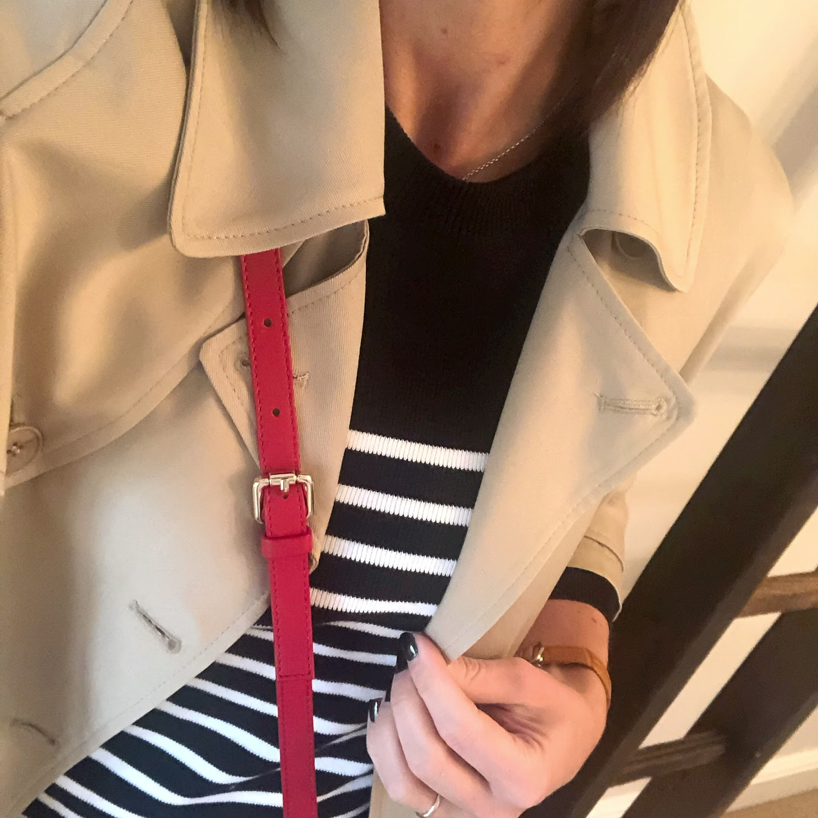 my midlife fashion, the white company trench coat, uterque mock croc cross body bag, french sole henrietta mock croc ballet pumps, petit bateau stripe sailor crew neck jumper, massimo dutti leather leggings