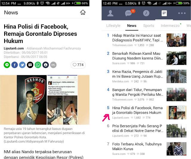 Remaja Gorontalo Hina Polisi di Facebook Ini Menjadi Berita Terpopuler Versi Line Today