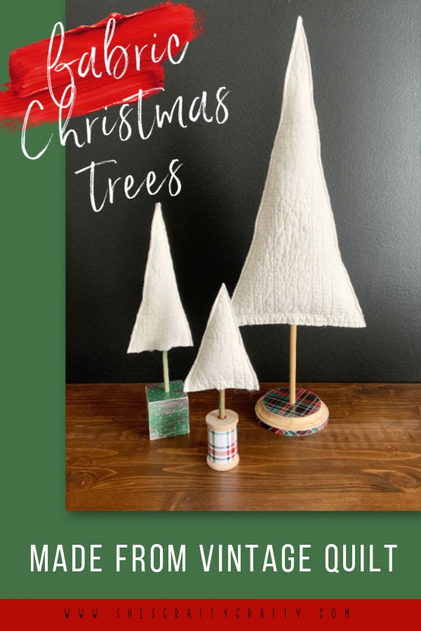 Fabric Christmas Tree made from Vintage Quilt