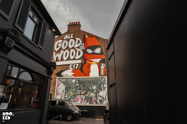 ALL GOOD IN THE WOOD mural by London artist Ronzo in Walthamstow