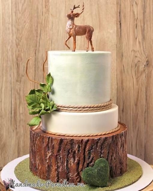 3D торт лесной тематики из сахарной мастики (13)