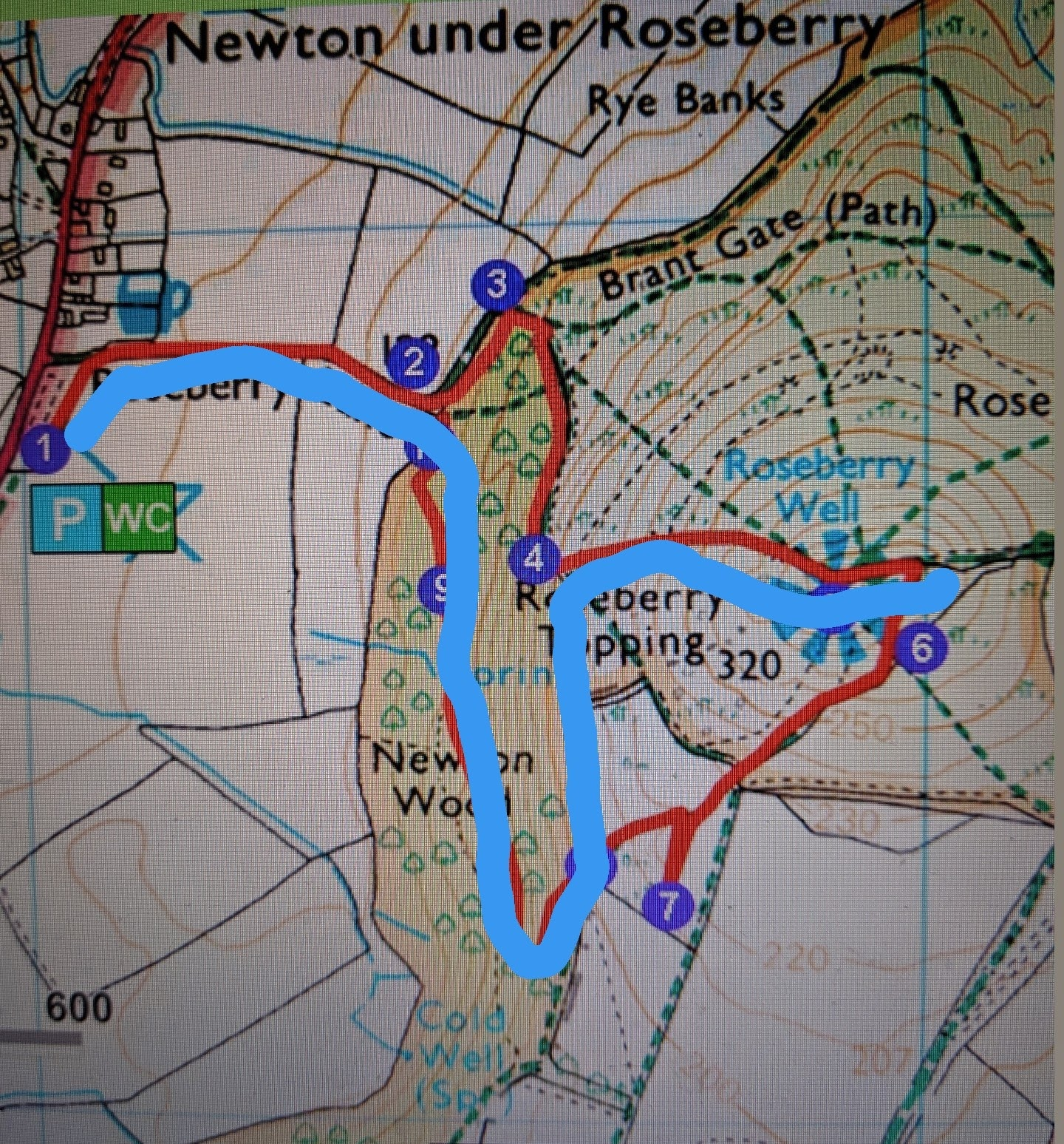 Climbing Roseberry Topping with Kids - our route and map