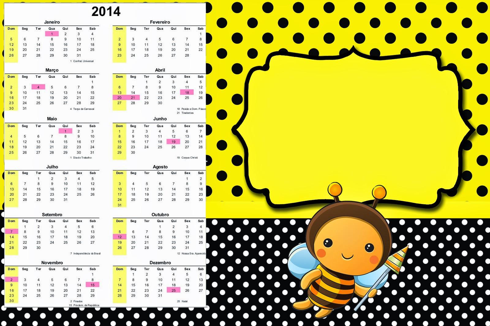 Calendario 2014 para imprimir gratis de  Abejitas Bebé.