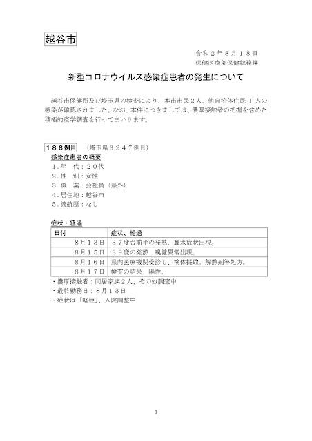 新型コロナウイルス感染症患者の発生について(8月18日発表)