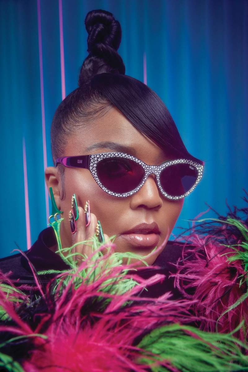 Lizzo models Totally Buggin sunglasses from Quay Australia.