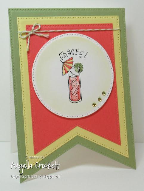 Inkadinkado Cheers, ODBD Custom Large Banners Dies, ODBD Custom Pierced Circles Dies, Card Designer Angie Crockett
