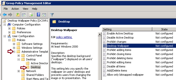 How to apply desktop wallpaper using Group Policy