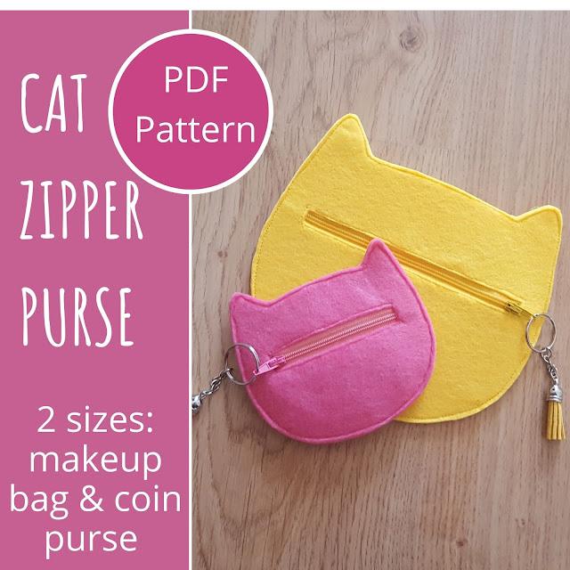DIY Cat zipper purses pattern