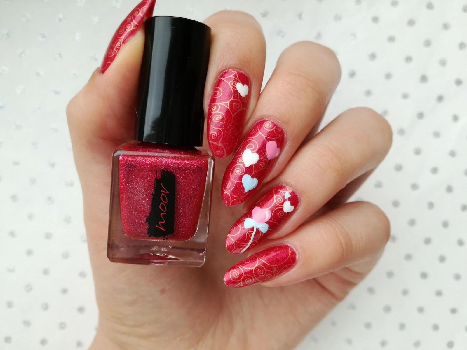 różowe paznokcie na walentynki